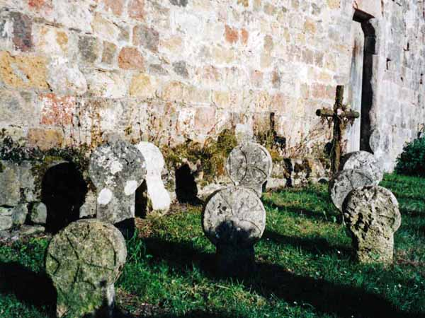 Walking in France: Basque gravestones (steles) at Saint-Engrace