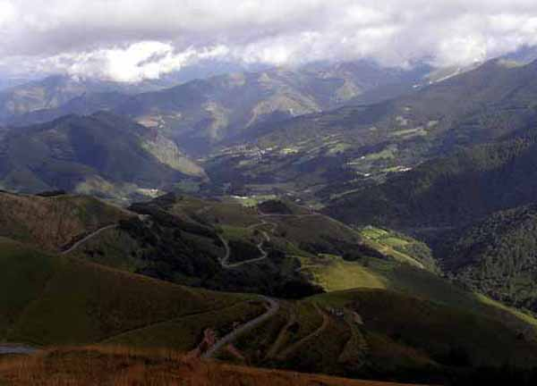 Walking in France: Looking down from Col Bagargiak in the direction of tomorrow's walk