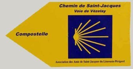 Walking in France: Association des Amis de Saint-Jacques pilgrimage track marker