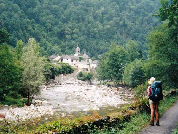 Walking in France: Looking across the Aspe to Sarrance