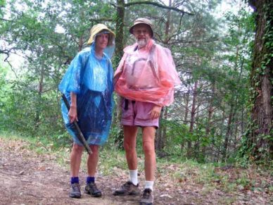 Walking in France: One of the rare occasions when we had to wear our $5 plastic ponchos