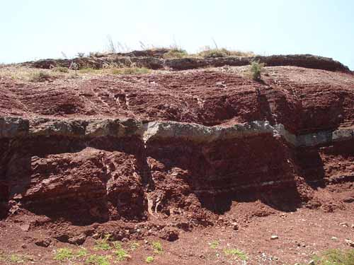 Walking in France: The strange red-and-white striped geological formations beside the road