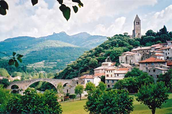Walking in France: Looking back to Olargues and the Devil's Bridge