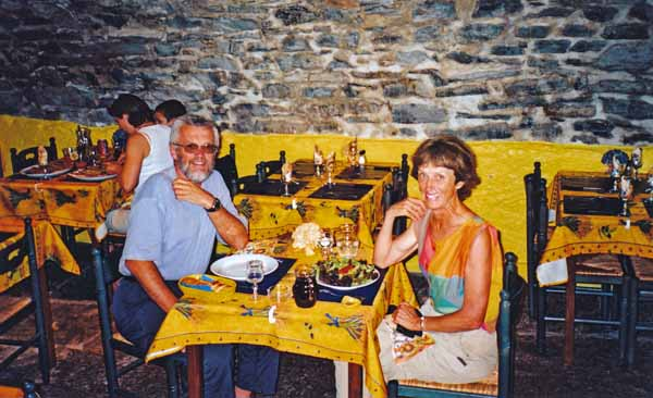 Walking in France: Dinner inside the lower rampart wall