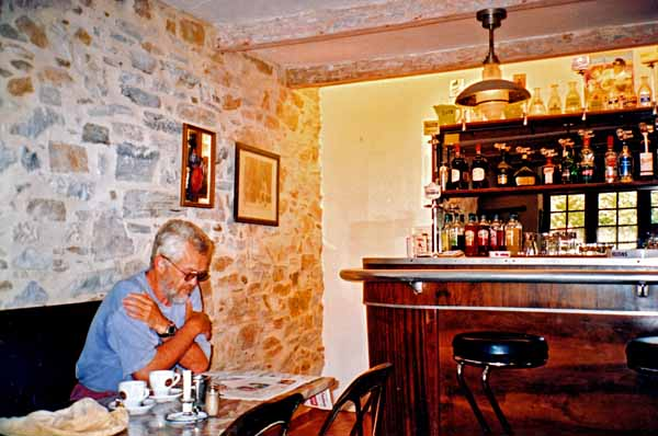 Walking in France: A delightful coffee and a read of the local paper, Corniou