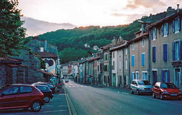 Walking in France: The main street of Labastide-Rouairoux at dusk