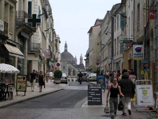Walking in France: Looking down the main street of Périgueux towards the cathedral