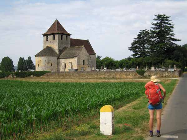 Walking in France: Checking the pedometer at the chapel of Saint-Martin