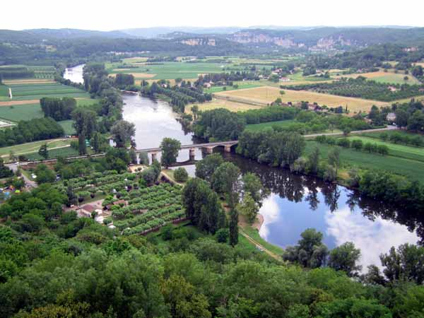 Walking in France: The Dordogne, and our camping ground, from Domme