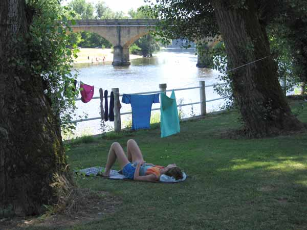 Walking in France: Having an afternoon nap beside the Dordogne after the washing has been done