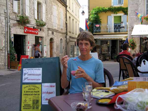 Walking in France: A rare photograph - Jenny eating icecream
