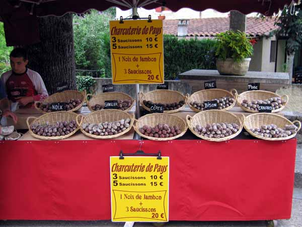 Walking in France: The sausage stall at the night market, Creysse