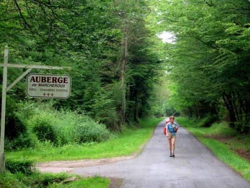 Walking in France: On a quiet road through the forest