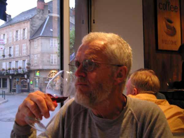 Walking in France: Tasting a wine before dinner in the brasserie