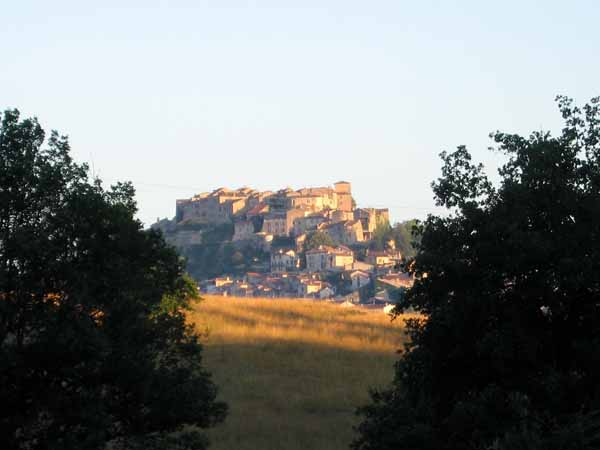 Walking in France: Looking back to Cordes bathed in the early morning light