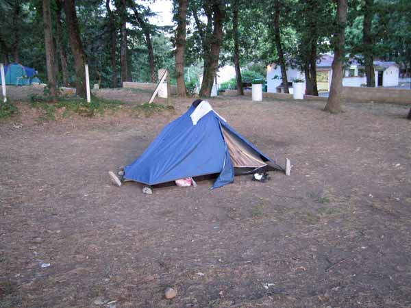 Walking in France: The rock-hard ground at Albi's camping area