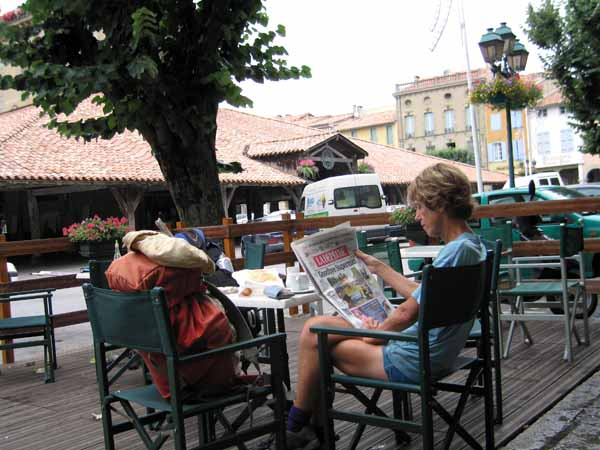 Walking in France: Catching up on the news of the Tour in the beautiful main square of Revel