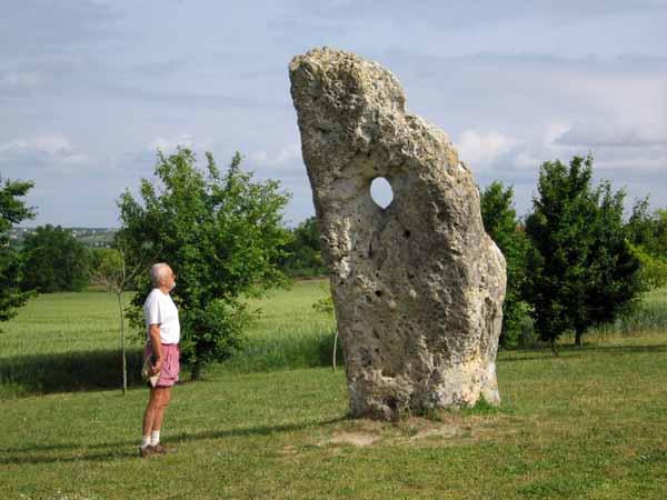 Walking in France: Admiring a menhir