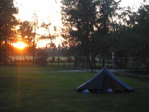 Walking in France: Sunset at the Brioux camping ground