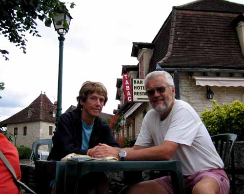 Walking in France: Waiting for our coffees at the Logis de France hotel, Loubressac