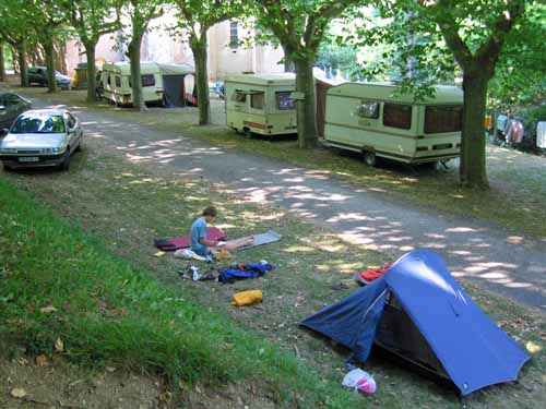 Walking in France: Writing the diary, Dourgne camping ground