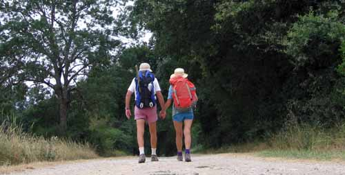Walking in France: Only a few kilometres to go to the finish of our 1200 km walk, and still holding hands!