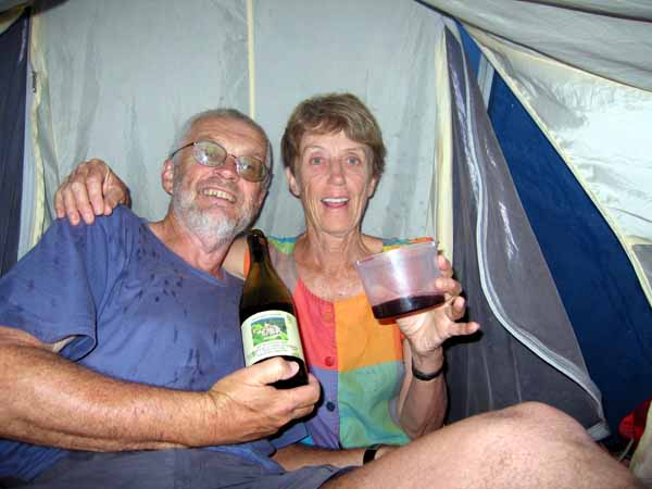 Walking in France: A picnic in our tent out of the sudden storm