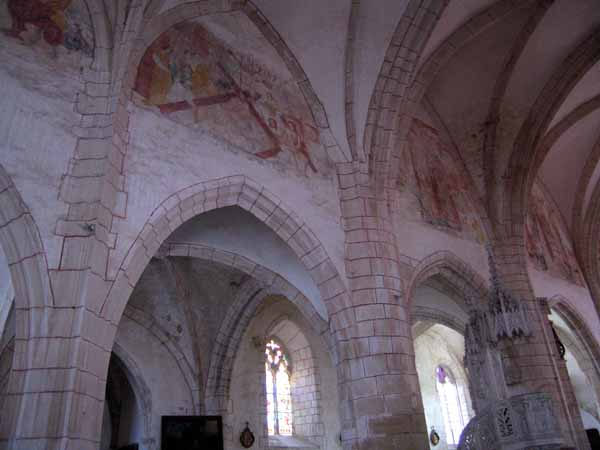 Walking in France: The interior of the church at Vault-de-Lugny with original frescoes of the Passion