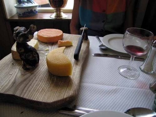 Walking in France: Jenny's fourth course for lunch, a cheese plateau