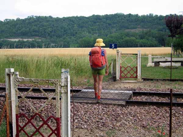 Walking in France: Crossing the railway line near Vermenton