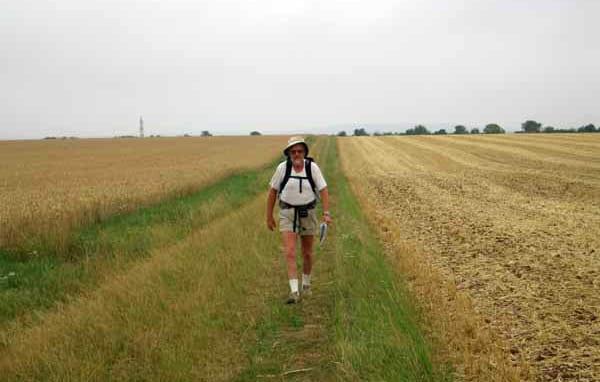 Walking in France: Striding across wide open farm land