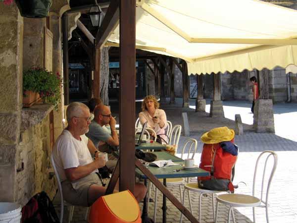 Walking in France: Coffee in the Place de la Halle, Nolay
