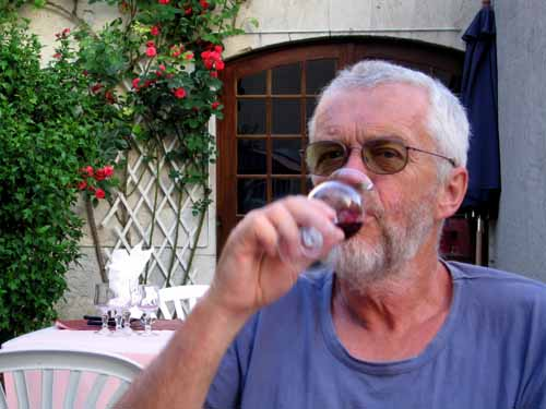 Walking in France: A glass of red before dinner