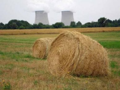 Walking in France: Hay bales and receding cooling towers