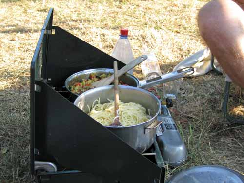 Walking in France: Pasta cooking on our neighbour's portable stove