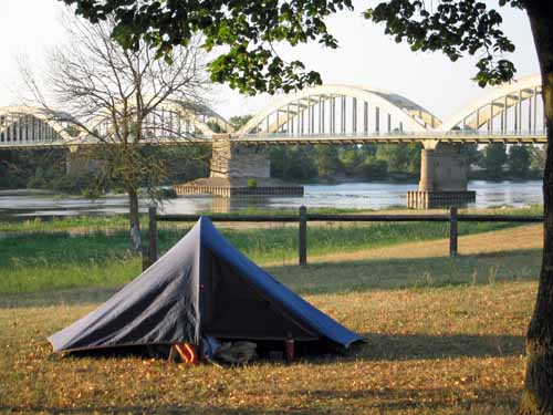 Walking in France: Our campsite at Muides-sur-Loire