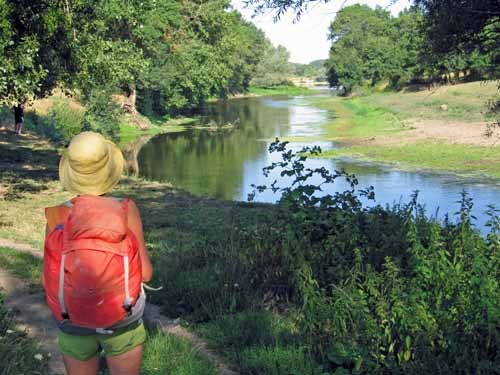 Walking in France: Looking down the Beuvron to its confluence with the Loire