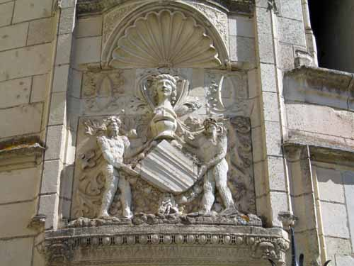 Walking in France: Detail of the fine stone work on the château