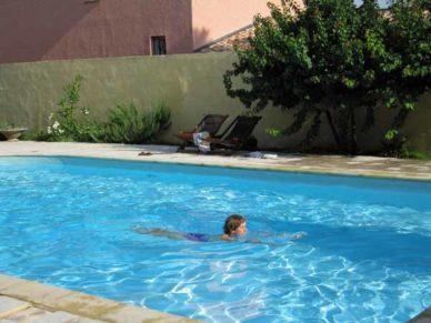Walking in France: A swim in the hotel's pool