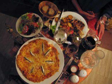 Walking in France: Dinner in Puycelci