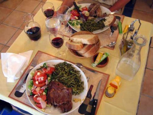 Walking in France: Our main courses: steak and lamb