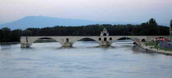 Walking in France: Pont d'Avignon on the way back to the camping after dinner