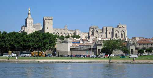 Walking in France: Palace of the Popes from the camping across the Rhône