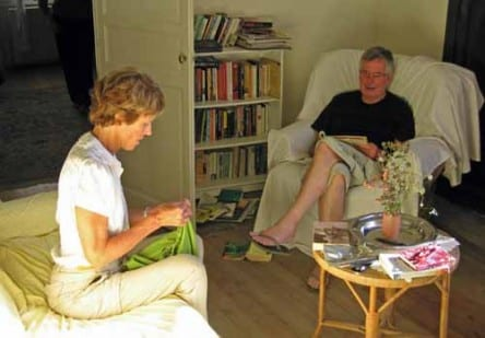 Walking in France: Jenny, mending her shorts, and our friend Philip