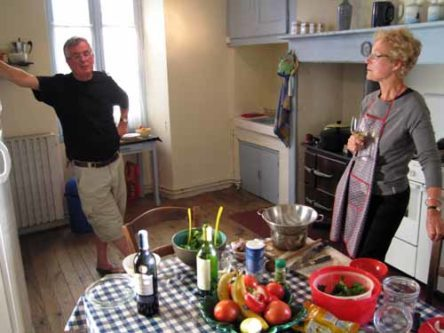 Walking in France: Philip and Lynne preparing our evening meal
