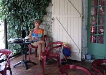 Walking in France: Second breakfast on a wistaria-covered terrace, Sauzet