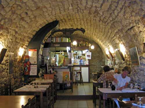 Walking in France: Pouring some wine before dinner arrives in the restaurant/cellar, Albas