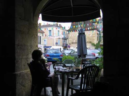 Walking in France: Enjoying the view from the arcade whilst having second breakfast