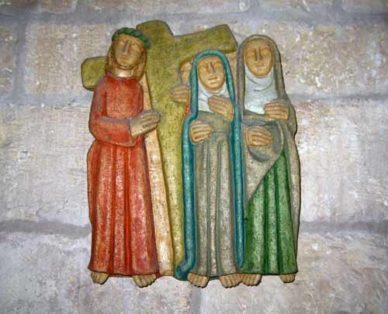 Walking in France: Bas-relief in the church, Beaumont-du-Périgord