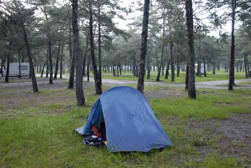 Walking in France: The water-logged camping ground at St-André-les-Alpes